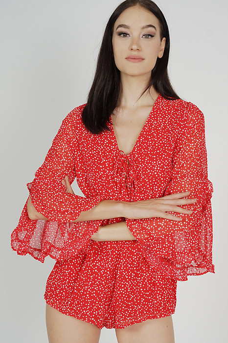 Tazla Ruffled-Sleeve Romper in Red Polka Dots - Online Exclusive