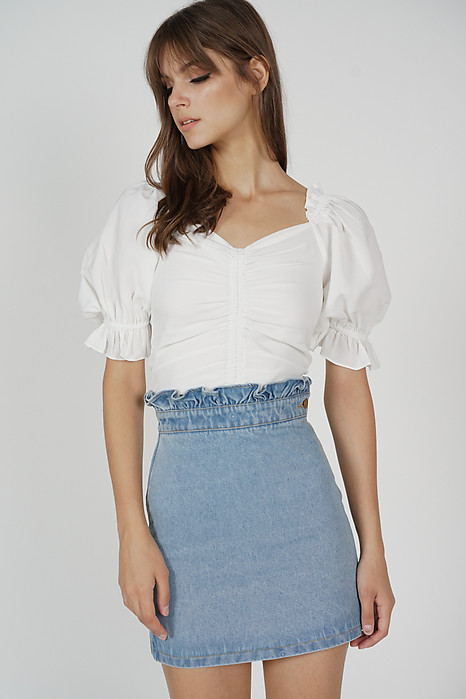 Vika Paper Bag Denim Skirt in Blue
