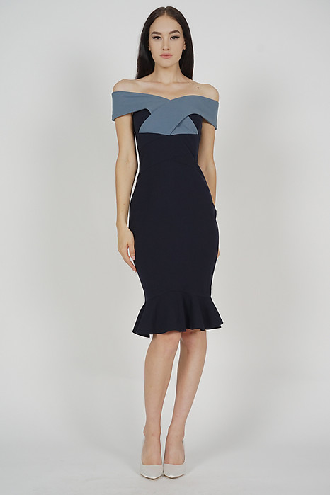 Talisa Criss Cross Dress in Blue Midnight - Arriving Soon