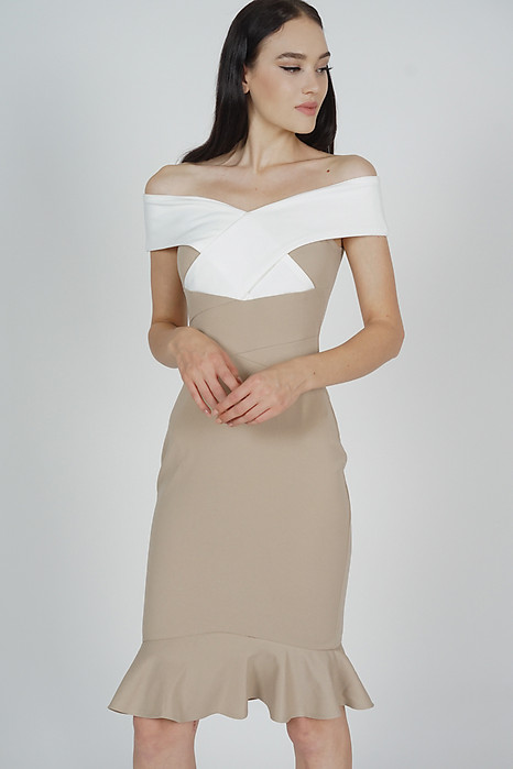 Talisa Criss Cross Dress in White Taupe - Arriving Soon