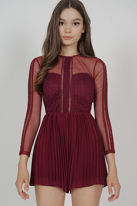 Melorie Pleated Lace Romper in Oxblood - Arriving Soon