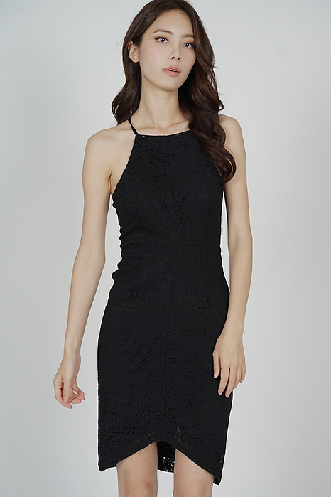 Yorina Halter Lace Dress in Black