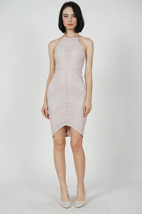 Yorina Halter Lace Dress in Blush