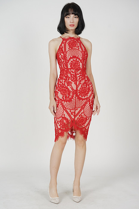Yorina Halter Lace Dress in Red