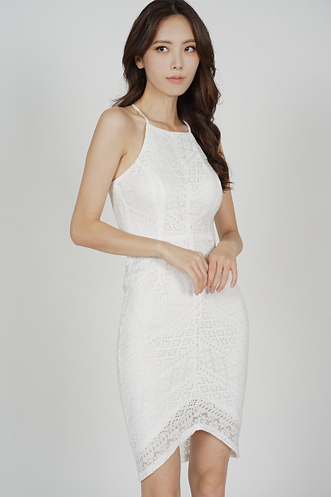 Yorina Halter Lace Dress in White
