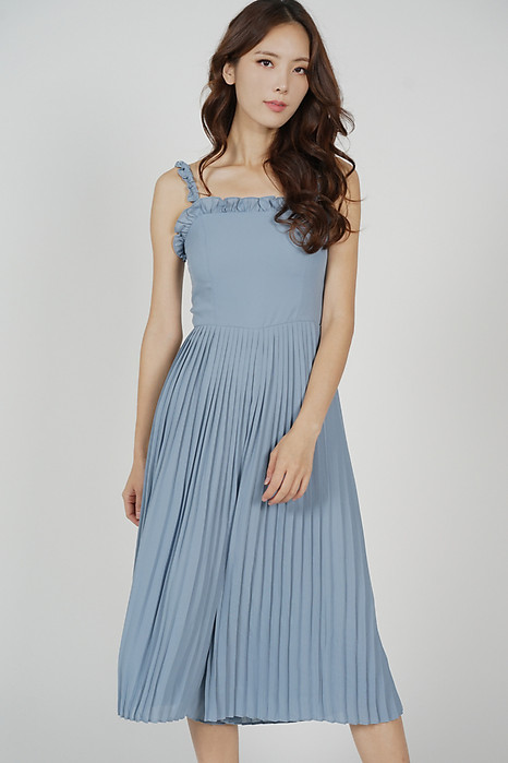 Zackie Pleated Jumpsuit in Ash Blue