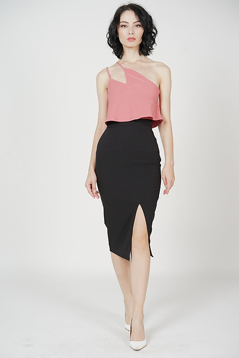 Kersie Toga Overlay Dress in Pink Black