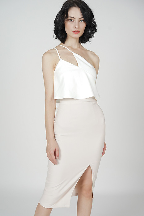 Kersie Toga Overlay Dress in White Nude