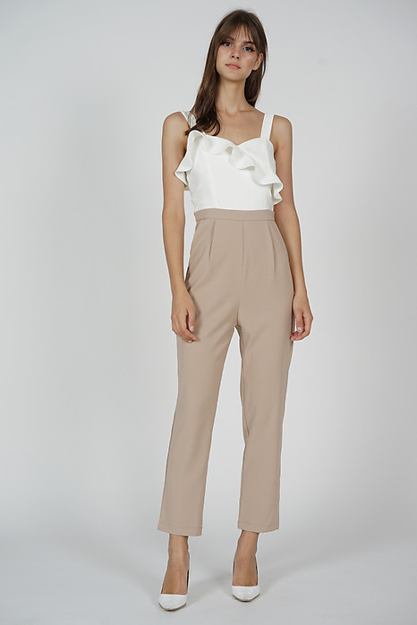 Falria Ruffled Contrast Jumpsuit in White Nude - Arriving Soon