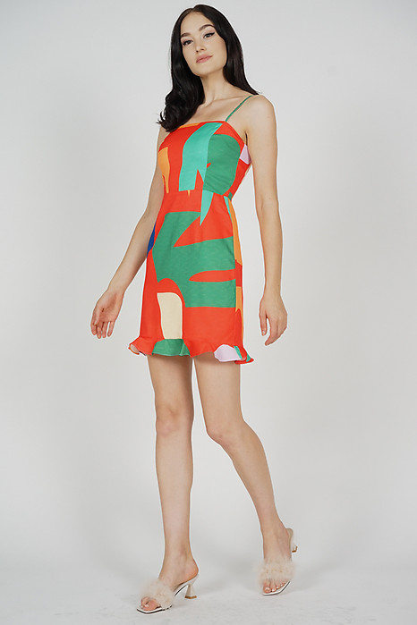 Mazana Ruffled-Hem Dress in Orange Abstract - Arriving Soon