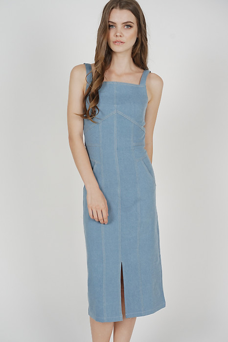 Colin Stitch Denim Dress in Light Blue - Arriving Soon