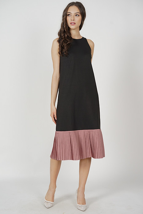 Chiara Pleated-Hem Dress in Black