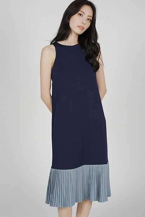 Chiara Pleated-Hem Dress in Navy - Arriving Soon