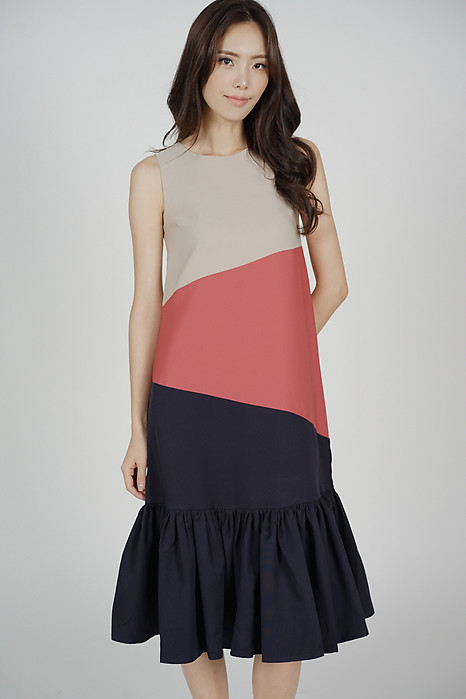 Reggie Color-Block Dress in Beige - Arriving Soon