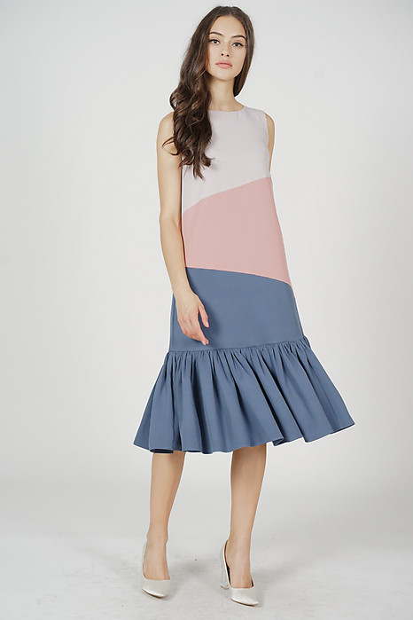 Reggie Color-Block Dress in Pink Blue