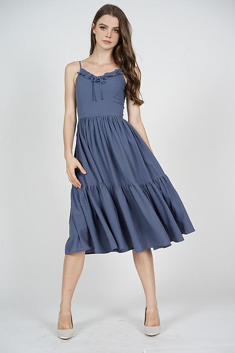 Keiryn Gathered Dress in Blue