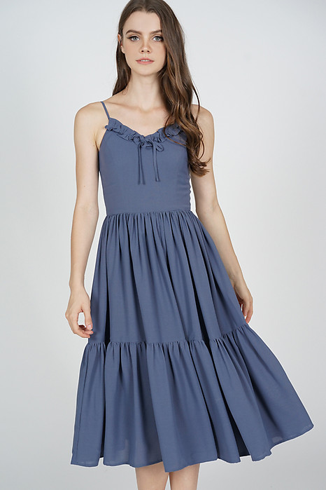 Keiryn Gathered Dress in Blue - Arriving Soon