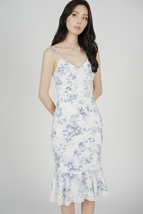 Kyrina Ruffled-Hem Dress in White Blue Floral - Arriving Soon
