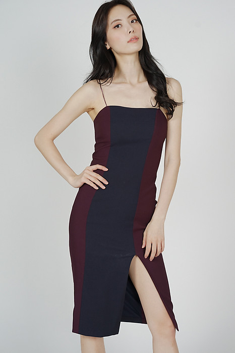 Marlin Contrast Dress in Oxblood - Arriving Soon