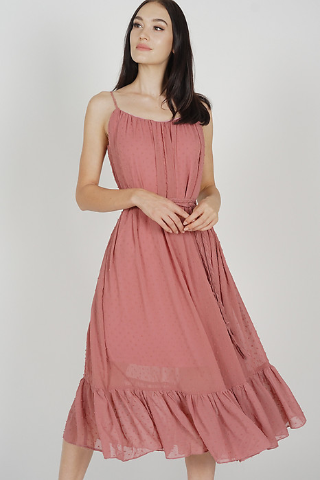 Jinea Gathered Dress in Mauve - Arriving Soon