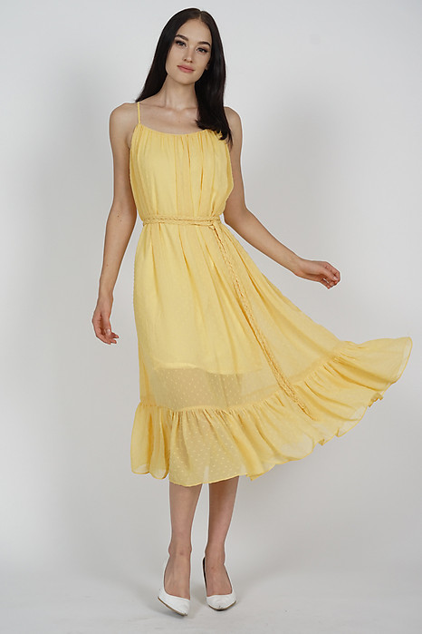 Jinea Gathered Dress in Mustard - Arriving Soon