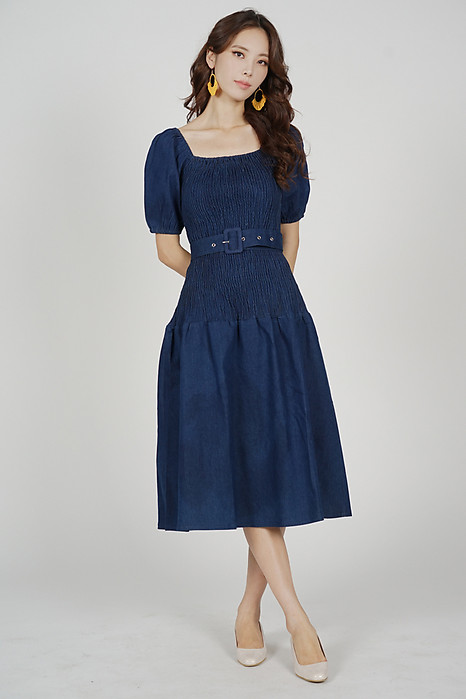 Meleza Smock Puffy Dress in Dark Blue - Arriving Soon