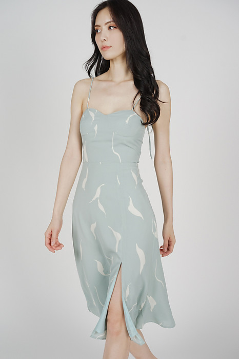 Nunya Slit Dress in Mint Abstract