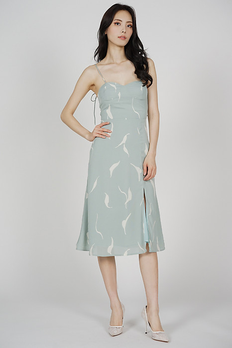 Nunya Slit Dress in Mint Abstract - Arriving Soon