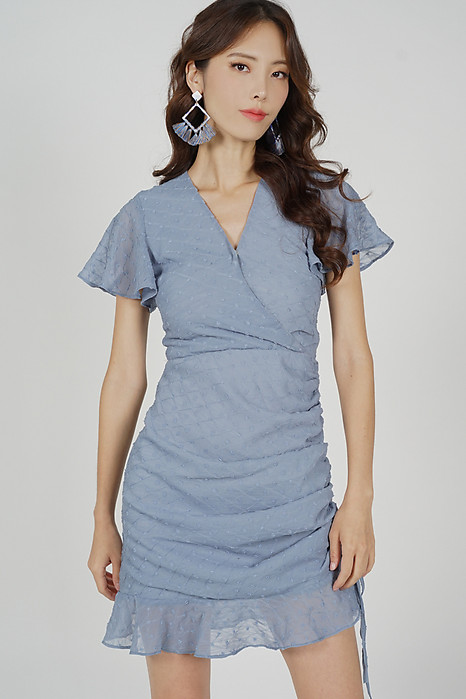 Kalie Side Ruched Dress in Ash Blue