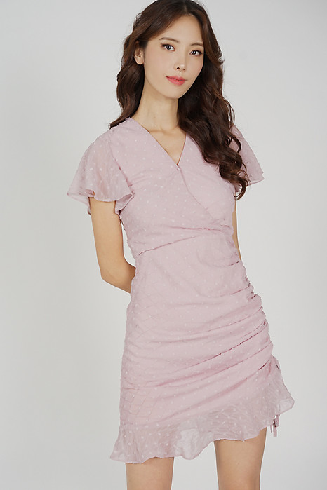 Kalie Side Ruched Dress in Pink - Arriving Soon