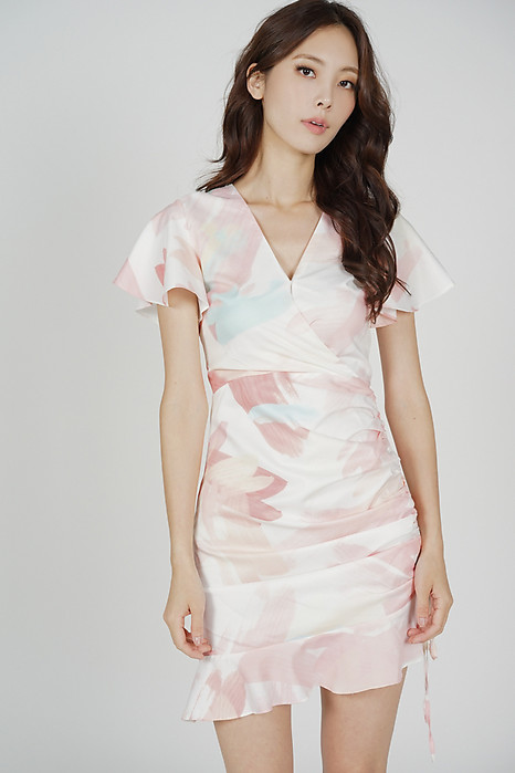 Kalie Side Ruched Dress in White Pink Abstract - Arriving Soon
