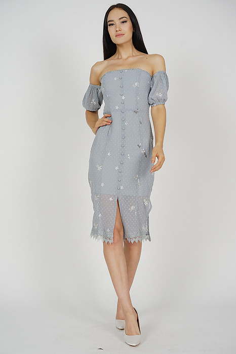 Dharma Off Shoulder Dress in Ash Blue Floral - Arriving Soon