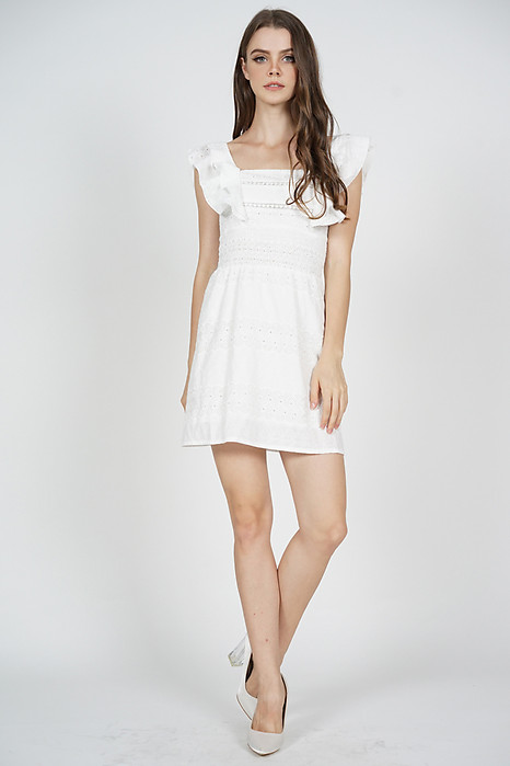 Ulyna Overlay Dress in White  - Arriving Soon