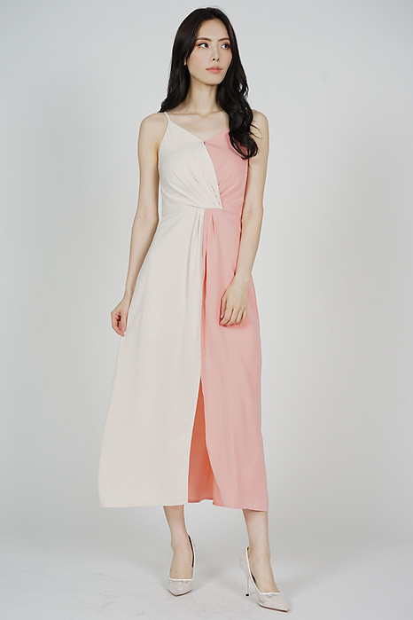 Portia Drape Dress in Cream Pink - Arriving Soon