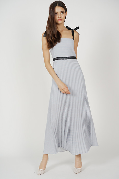 Adras Pleated Dress in Ash Blue