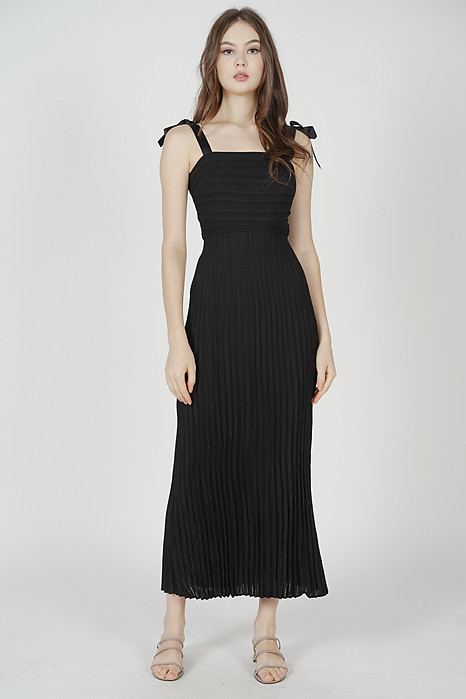 Juanie Pleated Dress in Black - Arriving Soon
