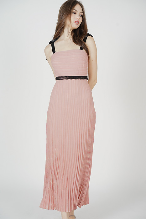 Juanie Pleated Dress in Pink - Arriving Soon