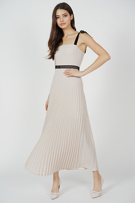 Adras Pleated Dress in Taupe