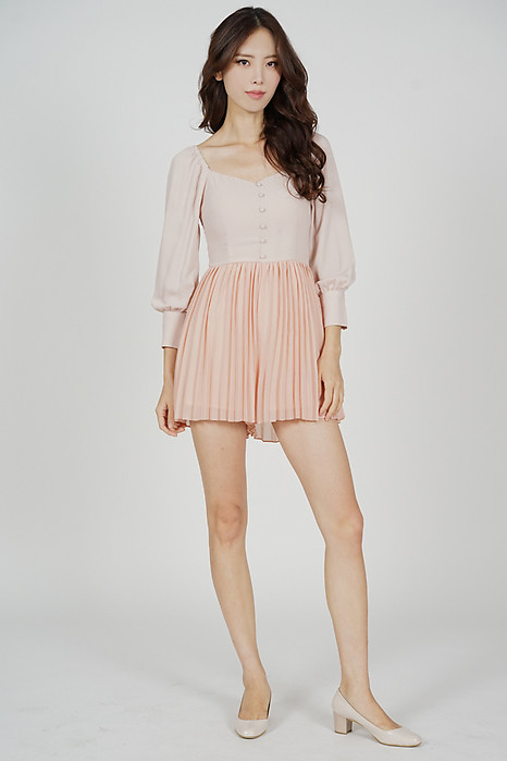 Judith Pleated Romper in Pink - Arriving Soon
