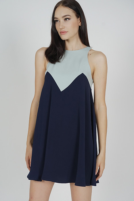 Karina Swing Dress in Ash Blue Midnight