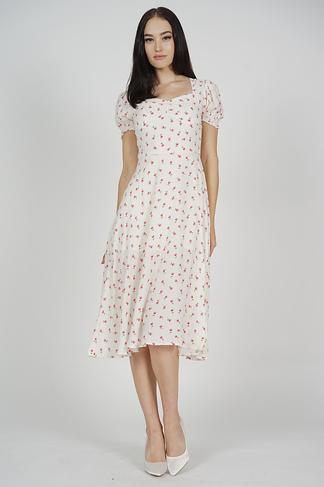 Meyka Midi Dress in Cream Floral