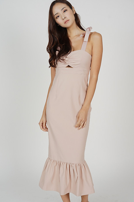 Elsi Gathered Front Cutout Dress in Light Pink - Arriving Soon