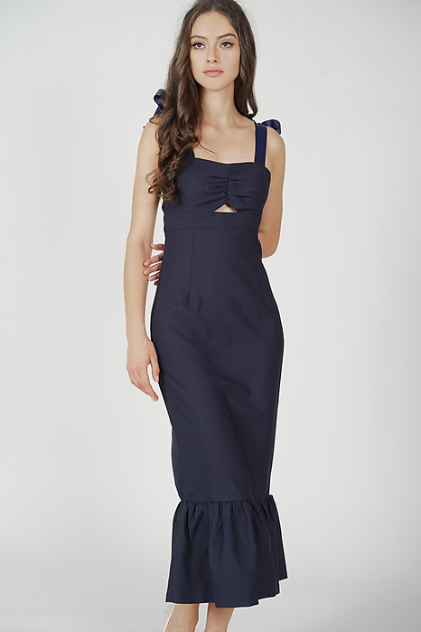 Elsi Gathered Front Cutout Dress in Midnight