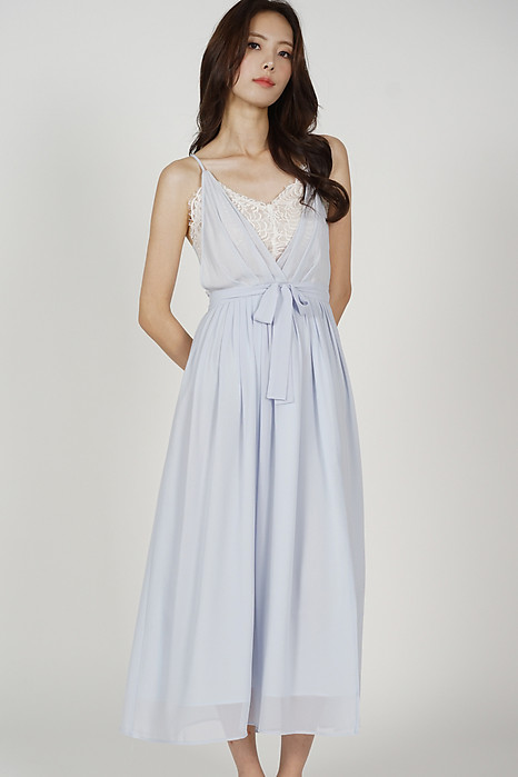 Aina Drape Dress in Light Blue - Arriving Soon
