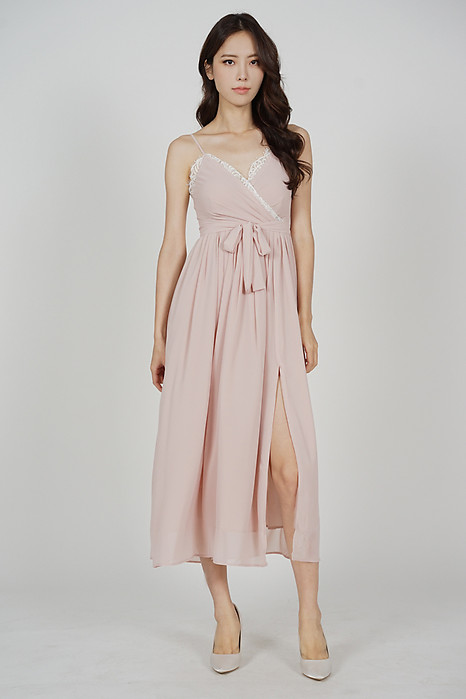Pattie Drape Dress in Pink - Arriving Soon
