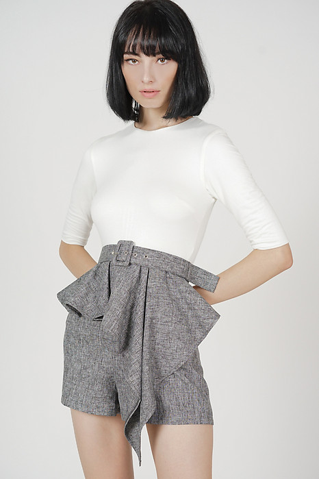Jedda Contrast Peplum Romper in White Grey - Arriving Soon
