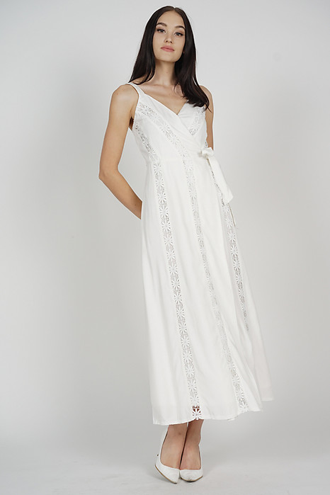 Nesiah Wrapped Dress in White - Arriving Soon