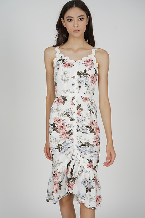 Kaven Ruched Dress in White Floral