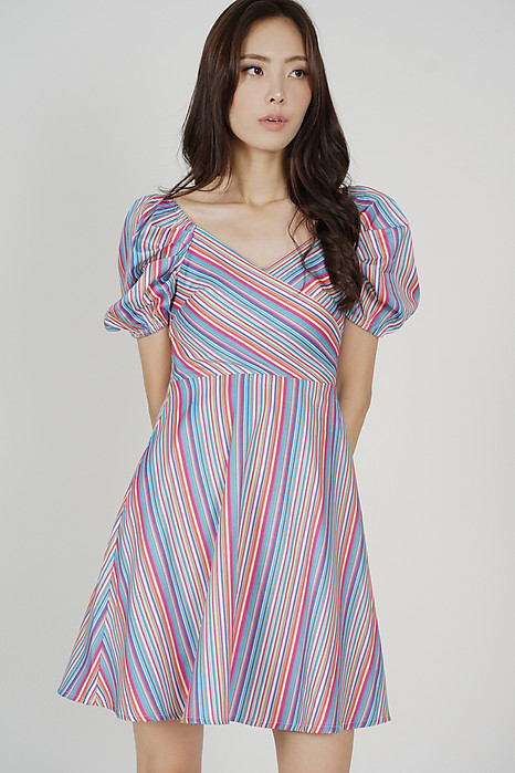Seilyn Puffy Dress in Multi Stripes - Arriving Soon