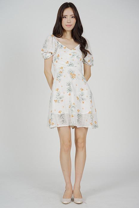 Seilyn Puffy Dress in White Yellow Floral - Arriving Soon